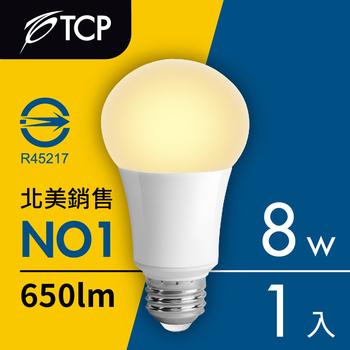 TCP台灣強凌 8瓦LED節能燈泡1入(黃光)