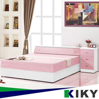★結帳現折★KIKY 粉紅波莉浪漫主義雙人三件床組(床頭+床底+床邊櫃)