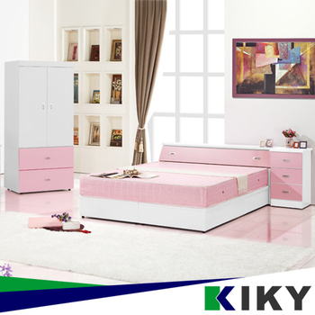 ★結帳現折★KIKY 粉紅波莉浪漫主義雙人四件床組(床頭+床底+床邊櫃+衣櫃)