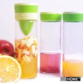 《EG Home 宜居家》多功能玻璃榨汁 泡茶 磨汁 檸檬杯500ml(附杯套、清潔刷)3入組