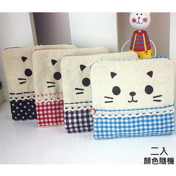 易奇寶 可愛微笑貓咪衛生棉收納袋 面紙收納袋(二入)