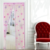 《Bunny》EVA印花保暖防冷氣油煙免穿磁條防蚊門簾(再加贈雙面膠)粉色