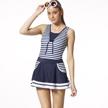 《【SARBIS】》MIT大女連身裙泳裝附泳帽B98519-02(S)