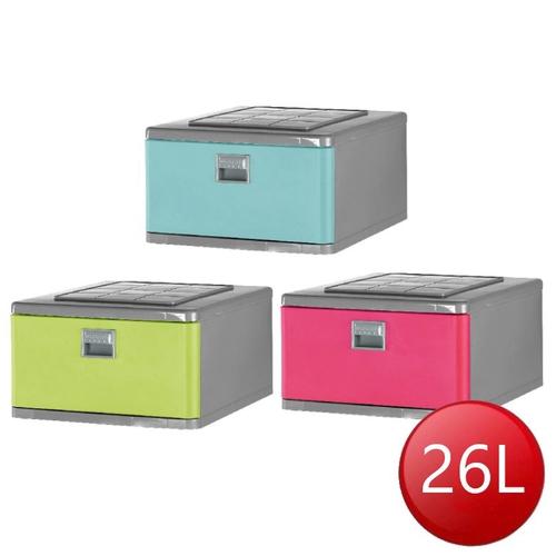 FP 抽屜整理箱-26L 三色隨機(46.5x40x24.5公分)