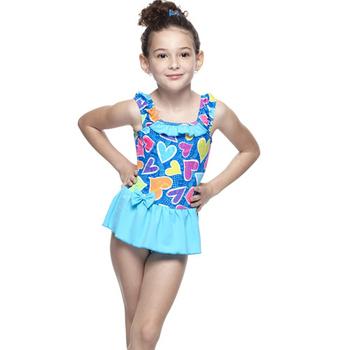 《【SARBIS】》MIT女童連身裙泳裝附泳帽B88426(8-)