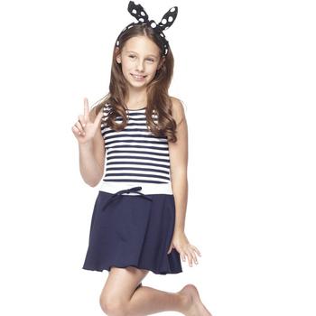 【SARBIS】 MIT泡湯SPA中童連身裙泳裝附泳帽B88417(S)