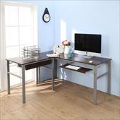 《BuyJM》低甲醛防潑水L型160+80公分附抽屜鍵盤穩重型工作桌(胡桃色)