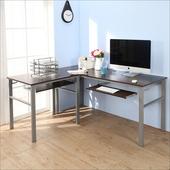 《BuyJM》低甲醛防潑水L型160+80公分雙鍵盤穩重型電腦桌(胡桃色)