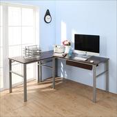 《BuyJM》低甲醛防潑水L型160+80公分單抽屜穩重型工作桌(胡桃色)