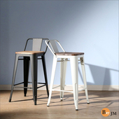《BuyJM》LOFT復古風工業風榆木低背吧台椅/餐椅 (2色可選)(御鐵黑)
