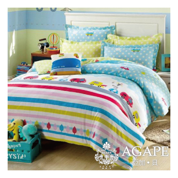 AGAPE亞加˙貝 快樂噗噗-粉☆100%精梳棉☆標準雙人(5x6.2尺)四件式涼被床包組/高度加高30cm(5尺)