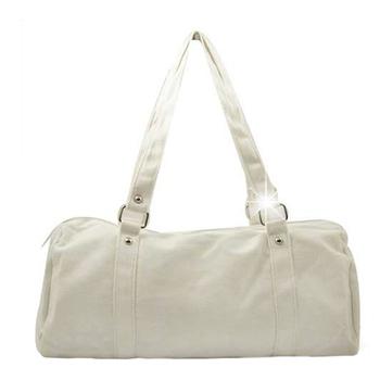justlove 帆布搭牛仔褲牛仔裙休閒上學購物旅行袋肩背手提獨家圓筒包(共2色)PG-0321(白)
