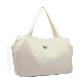justlove 帆布搭牛仔褲牛仔裙休閒上學購物旅行袋肩背手提獨家大方包(共2色)PG-0320(白)