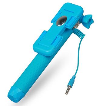 超迷你線控自拍桿 自拍棒(陽光藍)