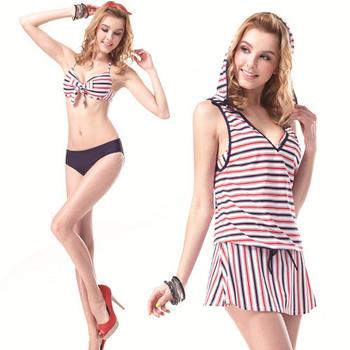 【SARBIS】 MIT大女比基尼三件式泳裝附泳帽B93327(M)