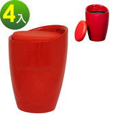《E-Style》收納儲藏式-PU皮革椅面-收納椅 4入(紅色)