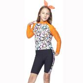 《SAIN SOU》女童兩截式水母衣泳裝附泳帽(12-)