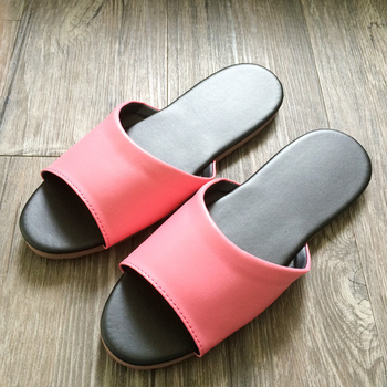 iSlippers 台灣製造-簡約純色皮質室內拖鞋(玫瑰粉M)