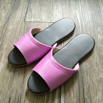 iSlippers 台灣製造-簡約純色皮質室內拖鞋(蘭紫M)