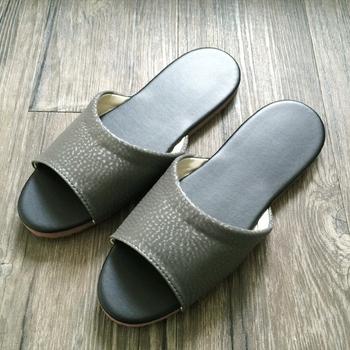 iSlippers 台灣製造-簡約純色皮質室內拖鞋(鐵灰XL)
