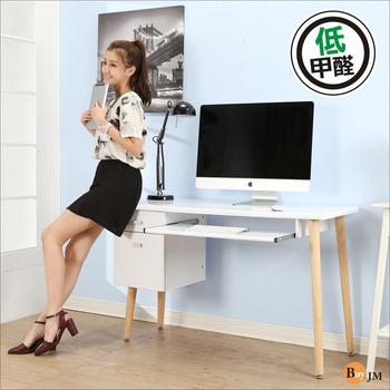 BuyJM 低甲醛鏡面雙抽一鍵實木腳電腦桌(寬120公分)(白色)