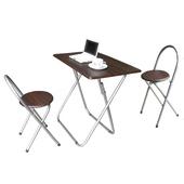 《頂堅》[耐重型]折疊桌椅組-深胡桃木色(1桌2椅)(深胡桃木色)