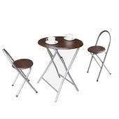 《頂堅》[耐重型]折疊桌椅組(一桌二椅)(深胡桃木色)