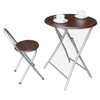《頂堅》[耐重型]折疊桌椅組(一桌一椅)(深胡桃木色)