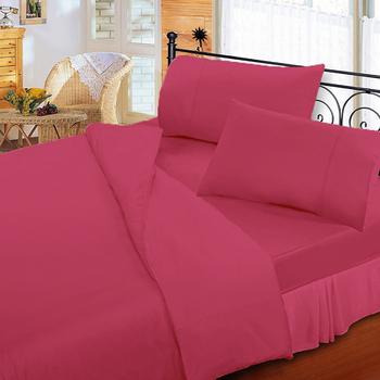 《FITNESS》純棉素雅單人床包枕套二件組-桃紅(3.5x6.2尺)