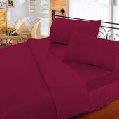《FITNESS》純棉素雅加大床包枕套三件組-酒紅(6x6.2尺)