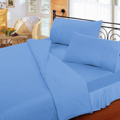 《FITNESS》純棉素雅加大床包枕套三件組-蔚藍(6x6.2尺)