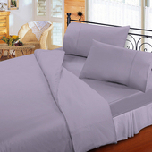 《FITNESS》純棉素雅加大床包枕套三件組-紫(6x6.2尺)