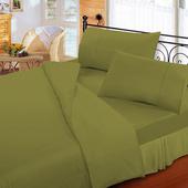 《FITNESS》純棉素雅加大床包枕套三件組-墨綠(6x6.2尺)
