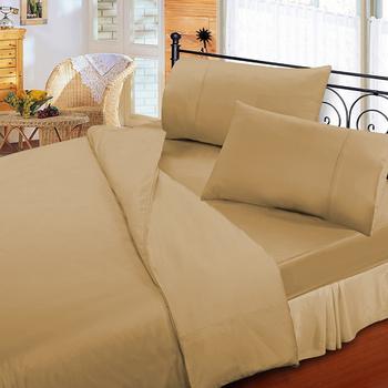 《FITNESS》純棉素雅單人床包枕套二件組-淺咖啡(3.5x6.2尺)