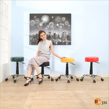 《BuyJM》馬卡龍鐵腳PU輪皮面厚墊旋轉椅(黑色)