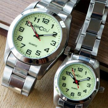 GECCU 5138 知性氣質數字錶盤金屬錶帶錶(夜光綠大款)