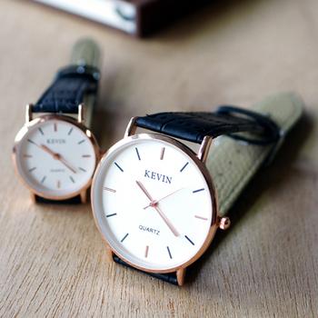 kevin 3068 簡約復刻 皮革錶帶石英情侶錶款(黑色大型)