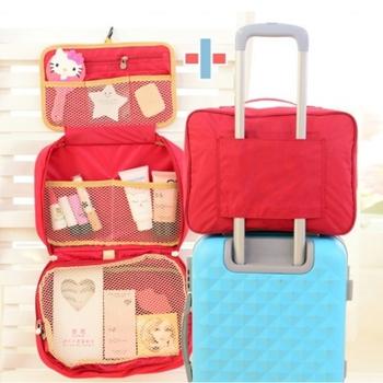 Bunny 完美大容量創意旅行行李袋盥洗包套裝組(拉桿收納包+三折盥洗包)(紅色)