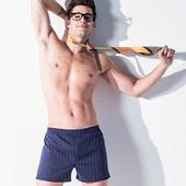 《MORINO摩力諾》耐用織帶條紋平口褲 深藍條紋(L)