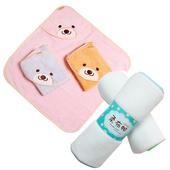 《COTEX可透舒》可愛寶寶沐浴二件組(微笑貝爾熊浴巾+柔布帕)(粉橘)
