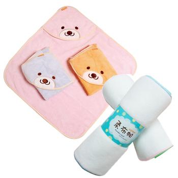 《COTEX可透舒》可愛寶寶沐浴二件組(微笑貝爾熊浴巾+柔布帕)(粉紅)