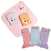 《COTEX可透舒》呵護寶貝包巾浴巾兩件組(安穩肚圍包巾 + 微笑貝爾熊浴巾)(粉藍肚圍)