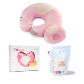《【COTEX可透舒】》哺乳三寶促銷A組(授乳枕+母乳袋40入+環保溢乳墊)(粉紅組合)