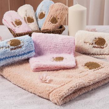 MORINO 超細纖維兒童刺繡擦拭浴巾(粉紅)