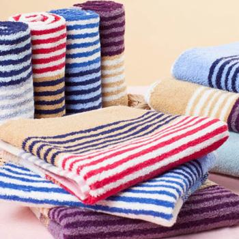 《MORINO》彩條緹花浴巾(深藍條)