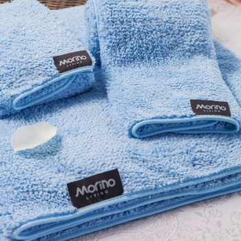 MORINO摩力諾 超細纖維毛巾(粉藍色)