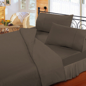 《FITNESS》純棉素雅加大床包枕套三件組-深棕(6x6.2尺)