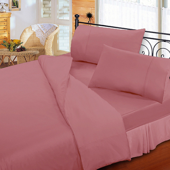 《FITNESS》純棉素雅加大床包枕套三件組-桔粉(6x6.2尺)