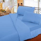 《FITNESS》純棉素雅雙人床包枕套三件組-蔚藍(5x6.2尺)