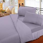 《FITNESS》純棉素雅雙人床包枕套三件組-紫(5x6.2尺)